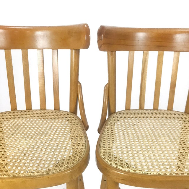 Vintage Romanian Maple Bentwood & Cane Side Chairs - A Pair For Sale In Philadelphia - Image 6 of 8