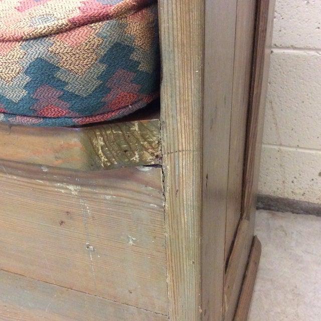 Blue High Back Pickled Wood Bench For Sale - Image 8 of 12