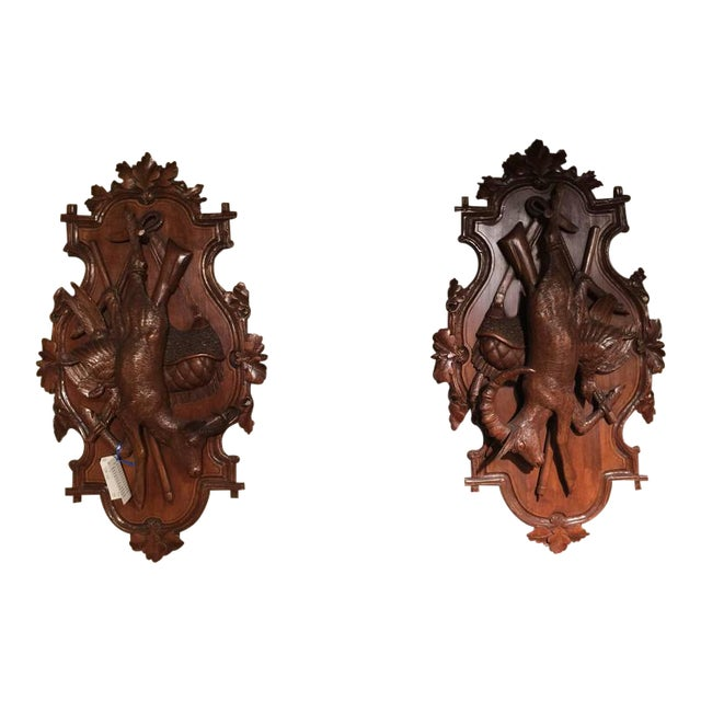 19th Century Swiss Carved Walnut Black Forest Wall Hunting Trophies - A Pair For Sale