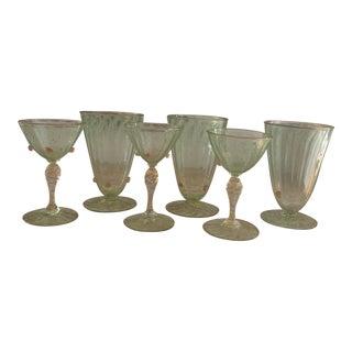 Vintage 1940s Salviati Attributed Green Italian Murano Glasses- Set of 6 For Sale