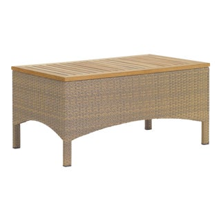 Teak and Wicker Outdoor Coffee Table For Sale