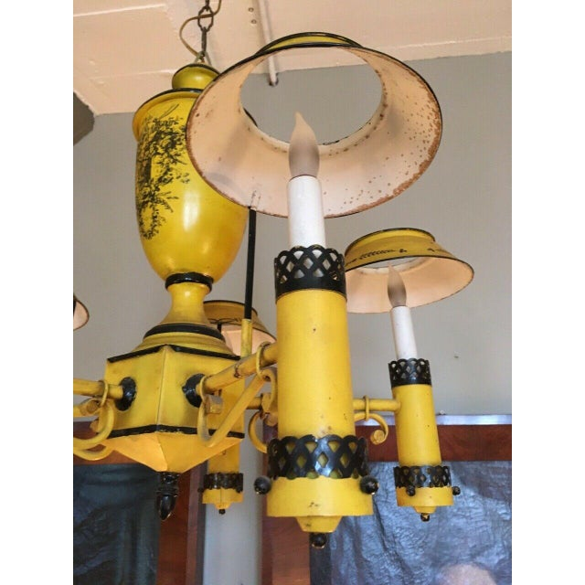 Yellow Early 20th Century Regency French Yellow Painted Tole Five Light Chandelier For Sale - Image 8 of 13