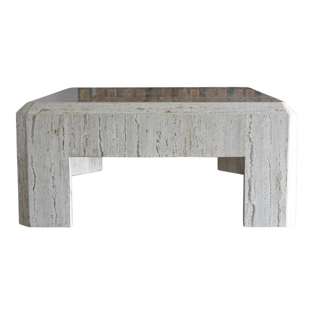1980s Vintage Modernist Travertine Coffee Table For Sale