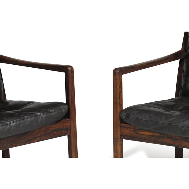 Black Ole Wanscher Rosewood Lounge Chairs in Original Leather - a Pair For Sale - Image 8 of 11