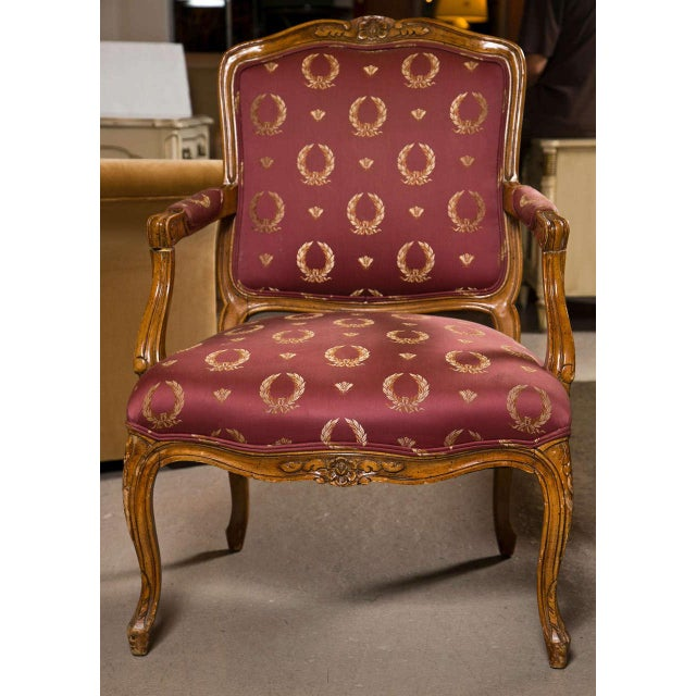 Pair of French Louis XV style walnut fauteuils or armchairs, circa 1940s, the square back with padded arms, seat is ample...