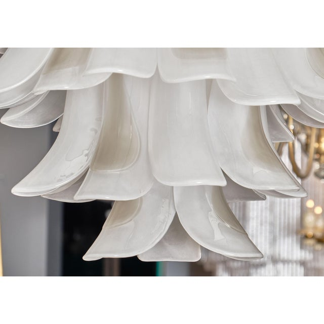 "White Murano Glass ""Selle"" Chandelier For Sale - Image 8 of 10"