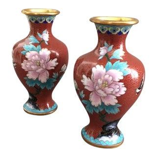 Cloisonne' Vases - A Pair For Sale