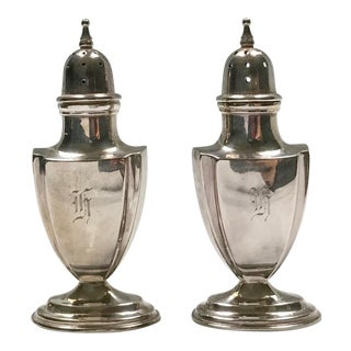 """Sterling Silver Chippendale Design """"H"""" Salt & Pepper Shakers - A Pair"""