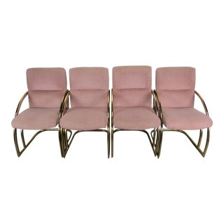 1960s Brass Cantilever Dining Chairs by Pace in the Style of Milo Baughman - Set of 4 For Sale