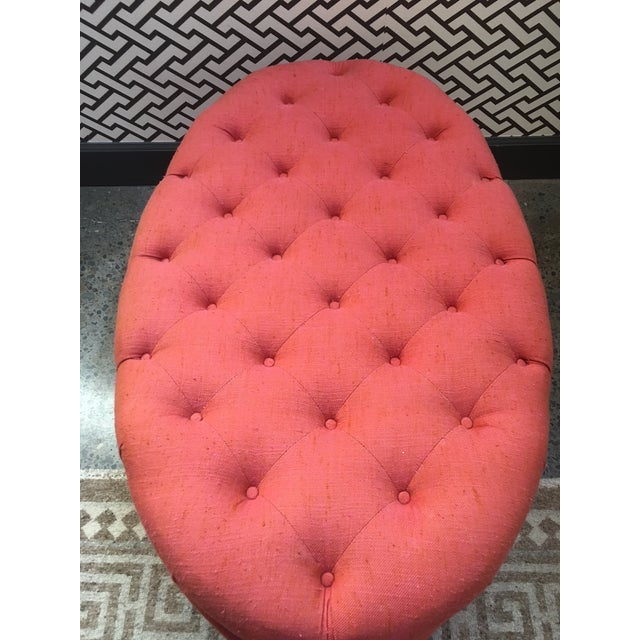 Orange Oval Tufted Ottoman For Sale - Image 5 of 7