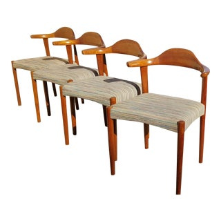 1960s Vintage Danish Mod Teak & Rosewood Inlaid Elbow Chairs - Set of 4 For Sale