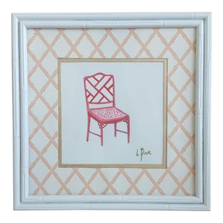 Original Palm Beach Regency Chinese Chippendale Chair Framed Painting Signed
