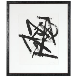 """""""Parlance 2"""", 2018, Monochromatic Abstract Expressionist Black Ink Drawing For Sale"""