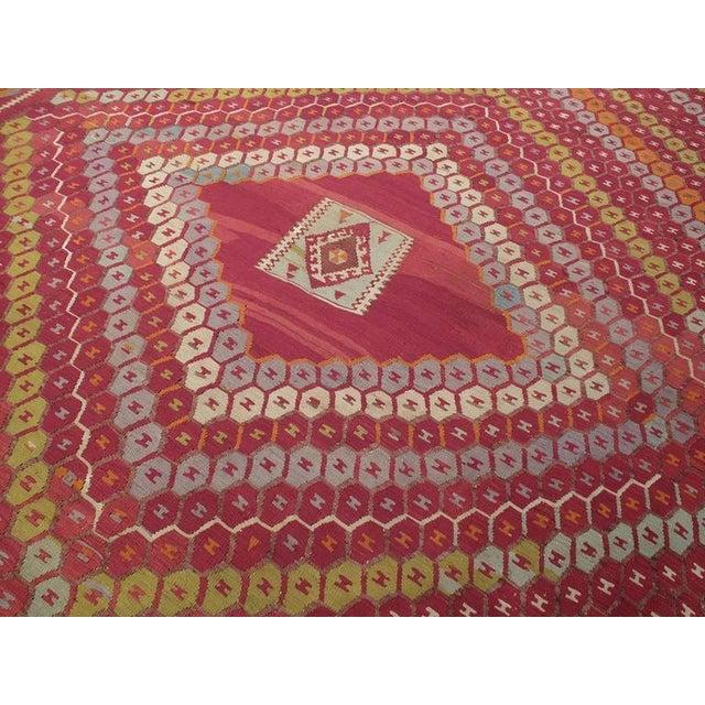 "Islamic ""Honeycomb"" Sharkisla Kilim For Sale - Image 3 of 10"