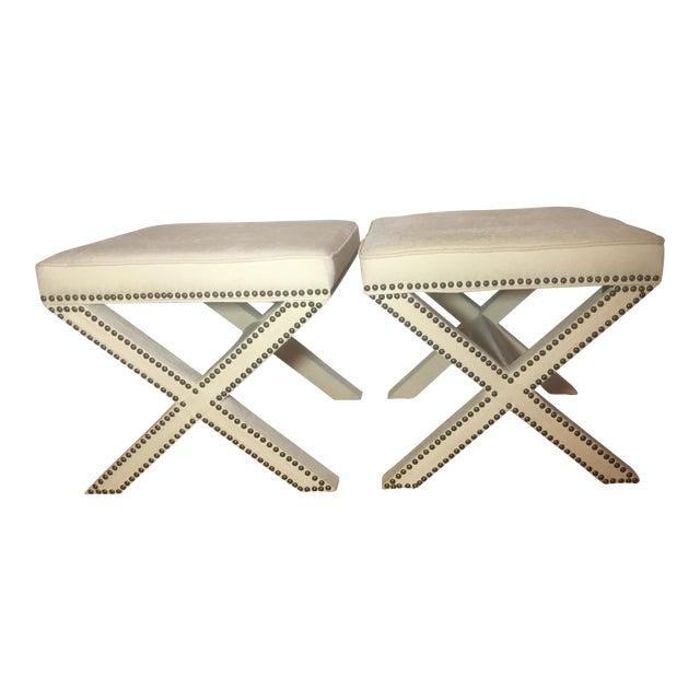 Linen Nailhead X-Bench Ottoman - a Pair For Sale