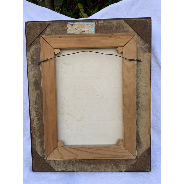 Custom frame looks hand made No glass Great condition On a canvas with insignia of her name in script Jean-Honore...