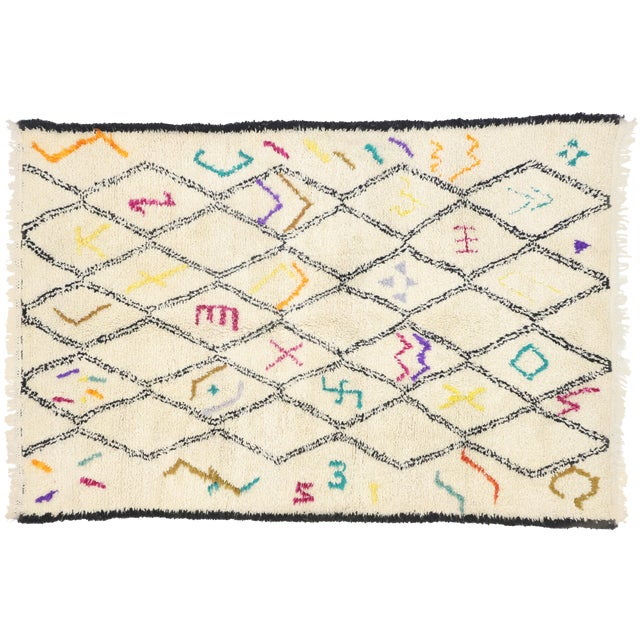 Moroccan Contemporary Berber Azilal Rug - 06'01 X 09'01 For Sale