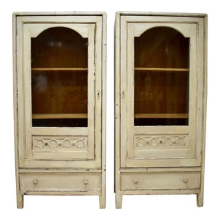 Pair of Painted Pine Vitrines For Sale