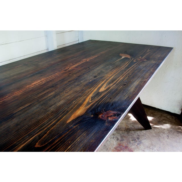 """Prouve Style Artisan Made Em Solvay Black Dining Conference Table - Black Brown 80"""" For Sale In San Antonio - Image 6 of 11"""