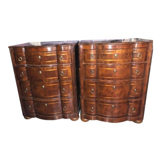 Alfonso Marin Inlaid Wood Nightstands/Chests - a Pair For Sale