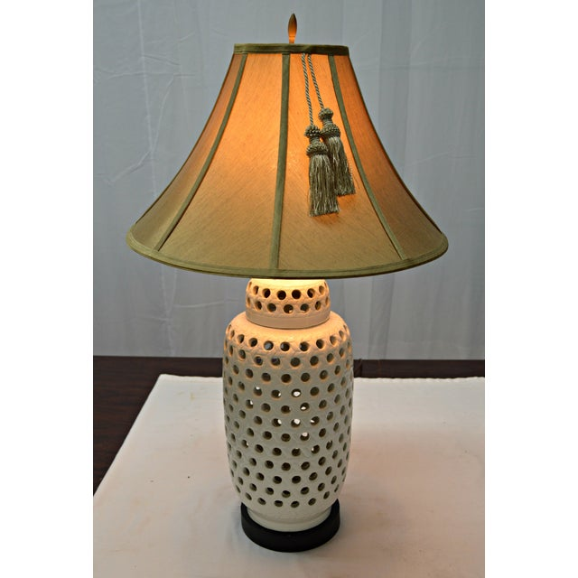 Mid-Century White Perforated Porcelain Table Lamp For Sale - Image 4 of 9