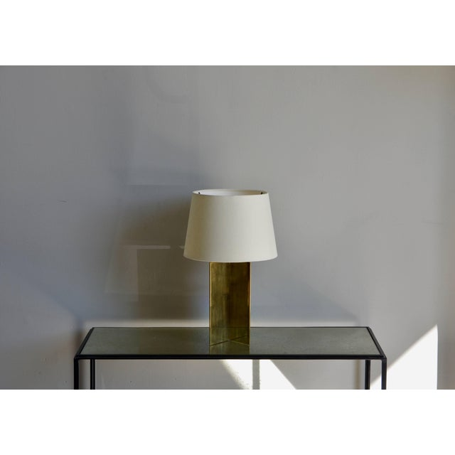 DESIGN FRERES Contemporary Design Frères 'Croisillon' Solid Brass and Parchment Lamps - a Pair For Sale - Image 4 of 8