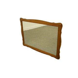 Vintage Colonial Style Solid Hard Rock Maple Scalloped Dresser / Wall Mirror For Sale