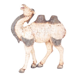Large Midcentury Chinese Tessellated Bone Camel For Sale