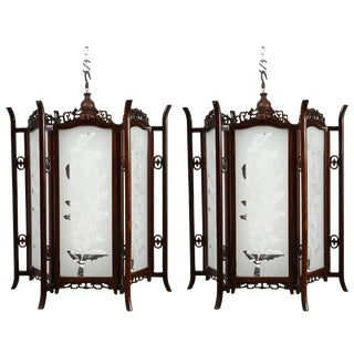 Pair of 19th Century Glass and Rosewood Chinese Lanterns For Sale