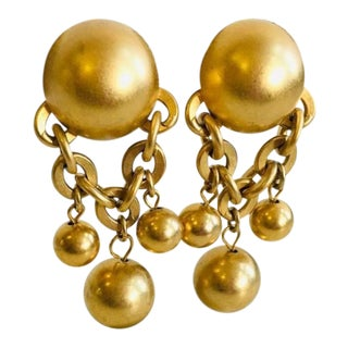 Vintage Givenchy Gold Metal Ball & Chain Link Style Clip on Earrings For Sale