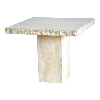 1970s Italian Maurice Villency Travertine Marble Side Table For Sale