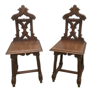 English Gothic Revival Oak Hall Chairs- a Pair For Sale