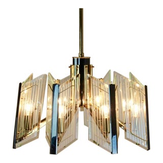 Distinctive Brass Etched Glass Chandelier, France 60s For Sale