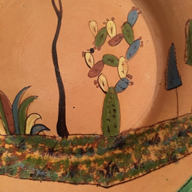 1930s Vintage Mexican Tlaquepaque Ceramic Pottery Folk Art Charger Plate For Sale - Image 4 of 6