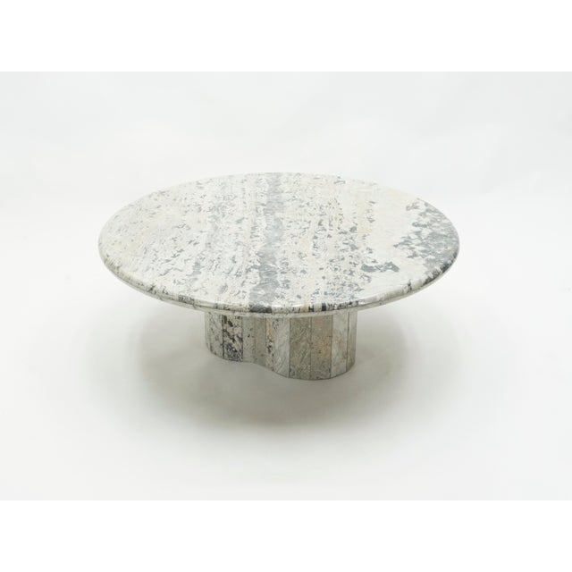French Round Sicilian Marble Coffee Table For Sale - Image 11 of 13