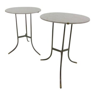 Cedric Hartman Marble and Brass End Tables