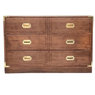 Walnut 3-Drawer Campaign-Style Dresser