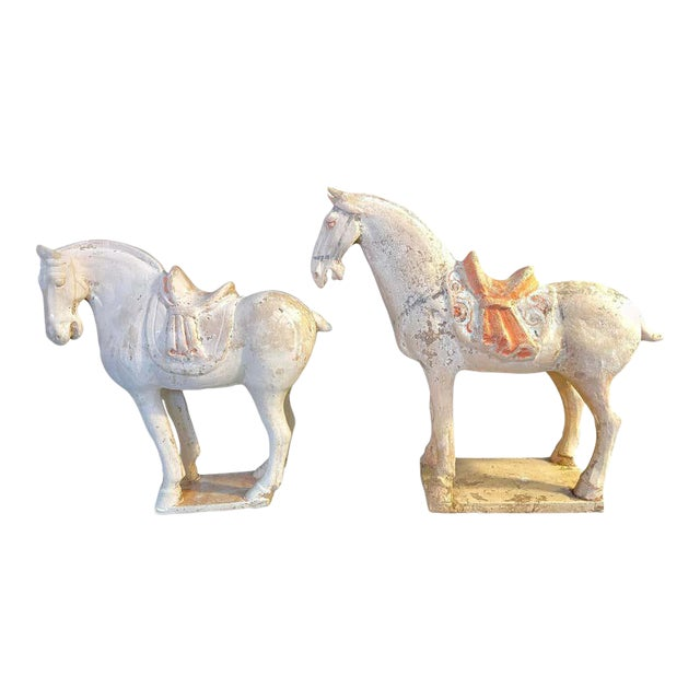Antique Tang Pottery Horses - a Pair For Sale