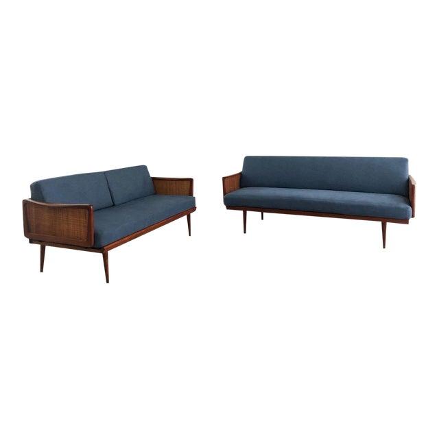 Mid Century Modern Peter Hvidt & Orla Mølgaard Nielsen Teak & Cane Sofa Set- 2 Pieces For Sale