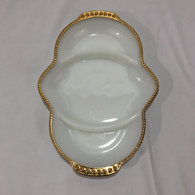 Vintage Fire King Gold Trimmed White Milk Glass Divided Serving Dish Beautifully Curved Oval White Milk Divided Serving...