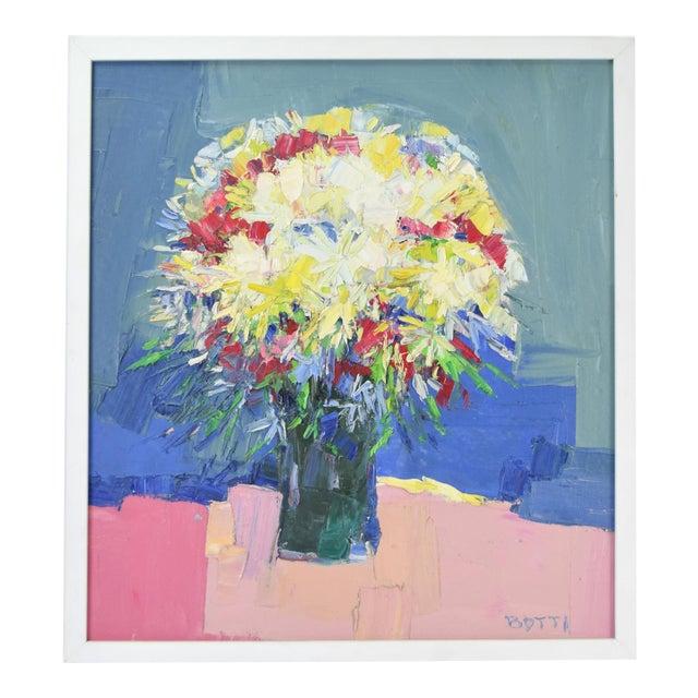 Italo Botti Mid-Century Modern Floral Still Life Oil Painting For Sale