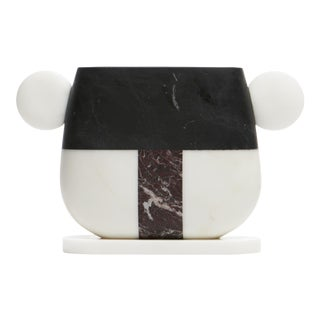 Vase in Red, Black and White Marble by Matteo Cibic, Made in Italy For Sale