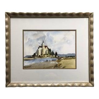 Mont Saint Michel Custom Framed Watercolor-Signed For Sale