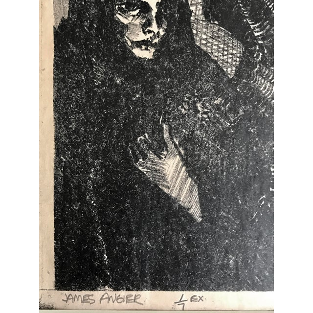 Mid 20th Century Vintage Expressionist Lithograph of an Angel in Black by James Angier For Sale - Image 5 of 5