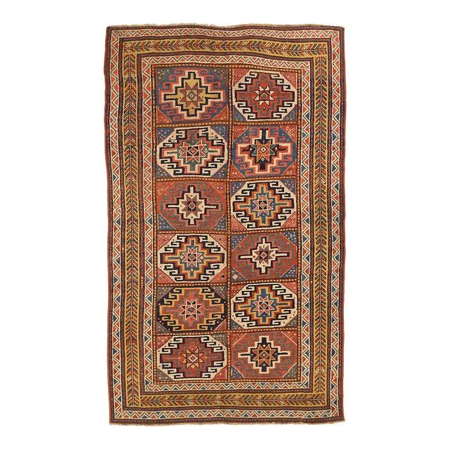 AntiqueRussian Area Rug Kazak Design For Sale