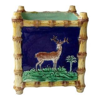 19th Century Victorian Majolica Bamboo Jardiniere With Stag and Greyhound
