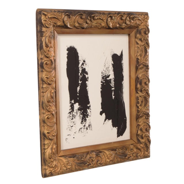 Superb original black and white abstract painting on artist board and mounted in a vintage gold color frame. We love the...