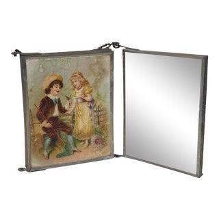 Antique French Boudoir Tri-Fold Ladies Vanity Travel Makeup Mirror For Sale