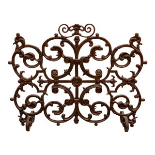 Vintage Decorative Cast Iron Fireplace Screen For Sale