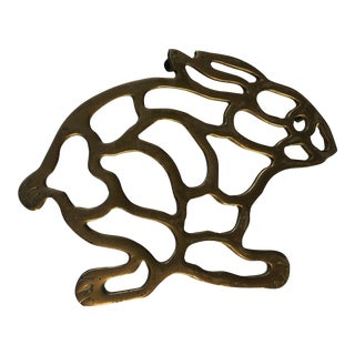 Mid-Century Brass Bunny Rabbit Trivet For Sale